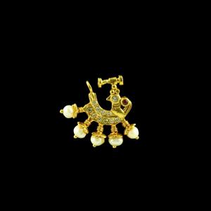 GOLD PLATED CZ AND PEARL NOSE RING