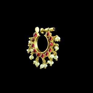 GOLD PLATED RUBY AND PEARL NOSE RING