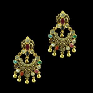 GOLD PLATED MULTI COLOR STONES CHANDBALI EARRINGS