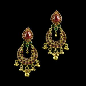 GOLD PLATED RUBY AND EMERALD CHANDBALI EARRINGS
