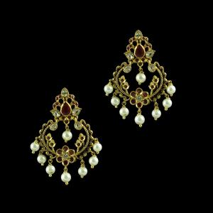 GOLD PLATED MULTI COLOR STONE CHANDBALI EARRINGS