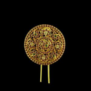 GOLD PLATED MULTI COLOR STONE HAIR PIN