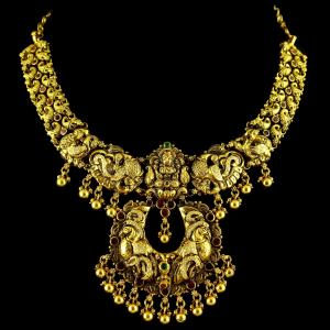 GOLD PLATED LAKSHMI PEACOCK NECKLACE