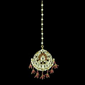 GOLD PLATED KUNDAN MANGTIKKA WITH RUBY AND PEARLS