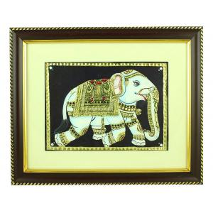 TANJORE PAINTING ELEPHANT GOLD