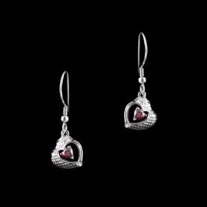 RED SWAROVSKI HEART HANGING EARRINGS