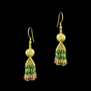 GOLD PLATED HANGING JHUMKA EARRINGS WITH RED AND GREEN HYDRO STO