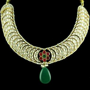 GOLD PLATED KUNDAN BRIDAL NECKLACE