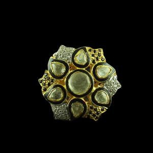 GOLD PLATED POLKI STONE AND CZ BRIDAL RINGS
