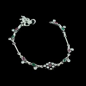 OXIDIZED SILVER CZ AND GREEN HYDRO WITH RED CORUNDUM ANKLETS