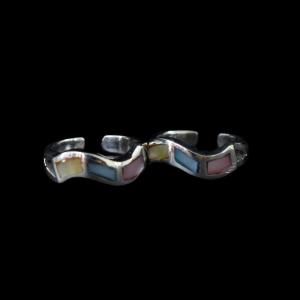 OXIDIZED SILVER ABALONE TOE RINGS