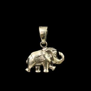 OXIDIZED SILVER ELEPHANT SHAPE PENDANT