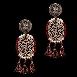 OXIDIZED LAKSHMI WITH RED JADE BEADS WITH PEARL DROPS EARRINGS