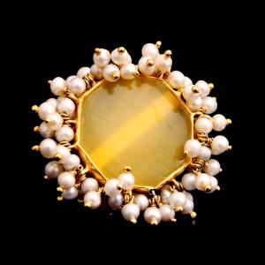 GOLD PLATED MONALISA RING WITH PEARLS