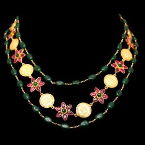 GOLD PLATED RED AND GREEN OYNX LAKSHMI COIN NECKLACES