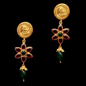 GOLD PLATED RED AND GREEN OYNX LAKSHMI DROPS EARRINGS