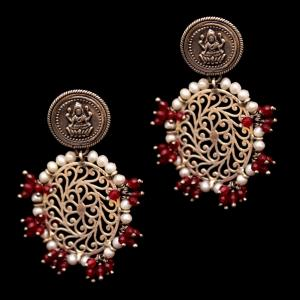 OXIDIZED SILVER LAKSHMI DROPS EARRINGS WITH PEARL AND RED CORUNDUM BEADS