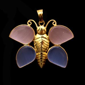 GOLD PLATED MONALISA STONE BUTTERFLY PENDANT