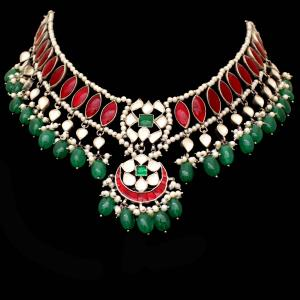 OXIDIZED SILVER RED AND GREEN ONYX WITH KUNDAN AND PEARL NECKLAC