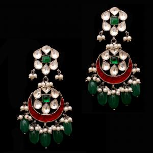 OXIDIZED SILVER RED AND GREEN ONYX WITH KUNDAN AND PEARL CHANDBALI EARRINGS