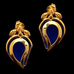 GOLD PLATED MONALISA STONE DROPS EARRINGS
