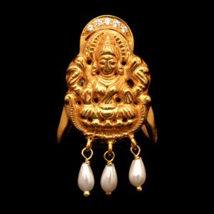 GOLD PLATED LAKSHMI CZ AND PEARL RING