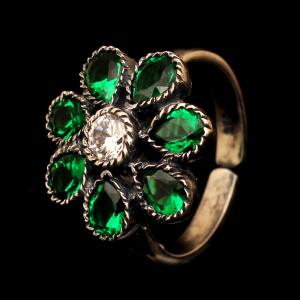 OXIDIZED SILVER CZ FLORAL RING