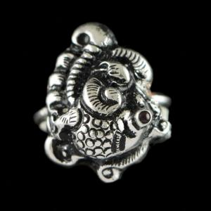 OXIDIZED SILVER NAKASH PEACOCK RING
