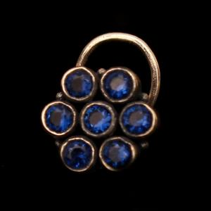 OXIDIZED SILVER BLUE SAPPHIRE NOSE PIN