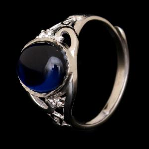 STERLING SILVER CZ AND BLUE STONE RING