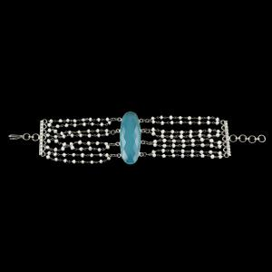 PEARL AATHI BUNCH BRACELET WITH BLUE CHALCEDONY STONE