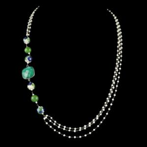 PEARL AATHI BUNCH NECKLACE WITH HATHIPARA STONE AND BLUE POTTERY
