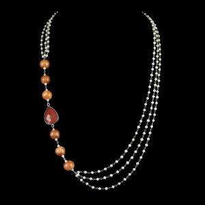 PEARL AATHI BUNCH NECKLACE WITH ORANGE ONYX STONE AND BLUE POTTE