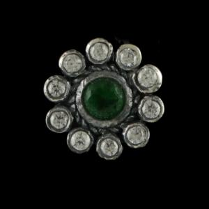 OXIDIZED SILVER CZ AND GREEN HYDRO NOSE PIN