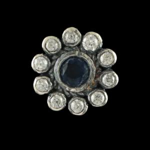 OXIDIZED SILVER CZ AND BLUE SAPPHIRE NOSE PIN