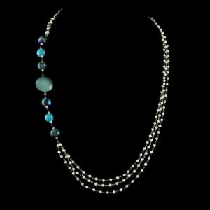PEARL AATHI BUNCH NECKLACE WITH BLUE CHALCEDONY STONE AND BLUE POTTERY BEADS