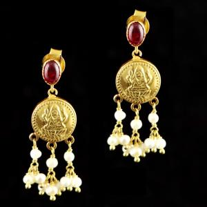 GOLD PLATED RED CORUNDUM AND PEARL BEADS LAKSHMI DROPS EARRINGS