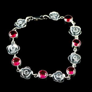 OXIDIZED SILVER RED CORUNDUM AND PEARL BEADS BRACELETS