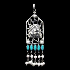 OXIDIZED SILVER TURQUOISE AND PEARL BEADS PENDANT