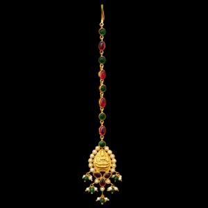 GOLD PLATED RED AND GREEN CORUNDUM LAKSHMI NETHI CHUTTI