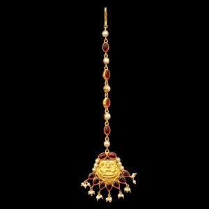 GOLD PLATED RED CORUNDUM AND PEARL BEADS LAKSHMI NETHI CHUTTI