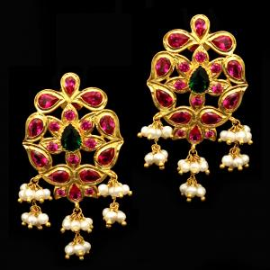 GOLD PLATED RED CZ AND PEARL BEADS EARRINGS