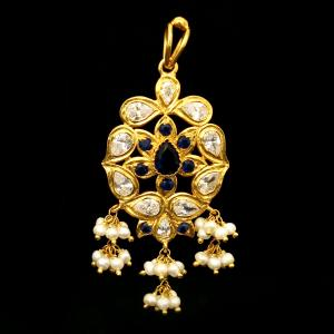 GOLD PLATED CZ AND PEARL BEADS PENDANT