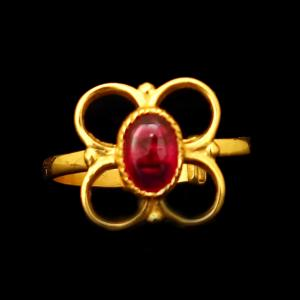 GOLD PLATED CZ FLORAL RING