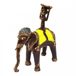 BASTAR MONKEY SITTING ON ELEPHANT WITH CANDLE STAND