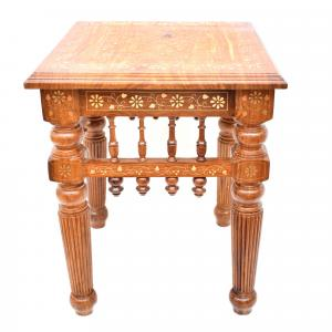 WOODEN SITTING STOOL WITH BRASS AND COPPER WORK