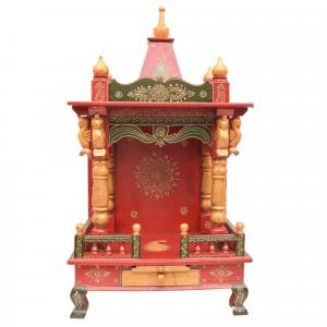 WOODEN PAINTED WALL HANGING SWAN MANDIR WITH DRAWER