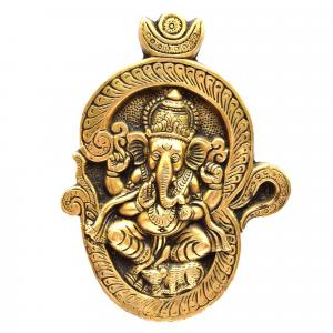 BRASS WALL HANGING GANESHA WITH OM