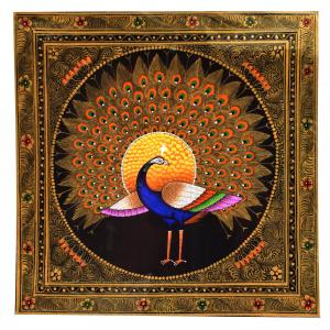 SILK PAINTING PA PEACOCK DANCING BLACK