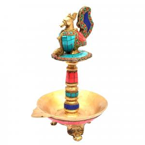 BRASS PEACOCK OIL LAMP STONE WORK 3 LEG